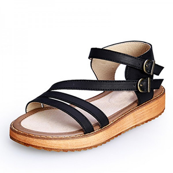 Buckle Strap Gladiator Sandals Summer Platform Flats Slip On Creepers Vintage Shoes Woman Plus Size 35 43 Extra Image 2