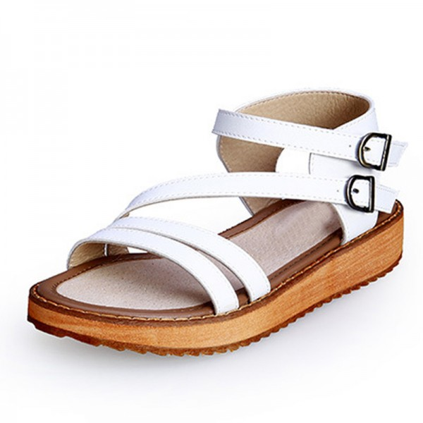 Buckle Strap Gladiator Sandals Summer Platform Flats Slip On Creepers Vintage Shoes Woman Plus Size 35 43 Extra Image 3