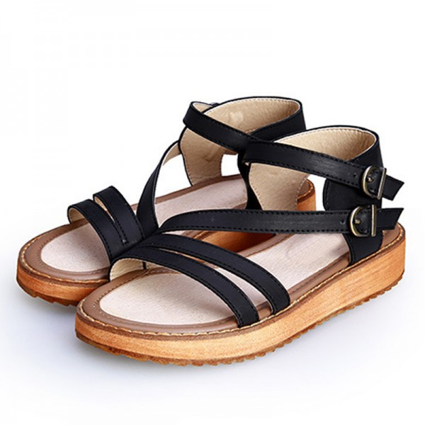 Buckle Strap Gladiator Sandals Summer Platform Flats Slip On Creepers Vintage Shoes Woman Plus Size 35 43 Extra Image 5