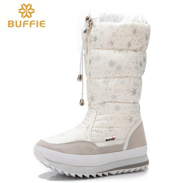 Buffie High Women Snow Boots plush Warm Lady shoe Plus size easy wear zipper up girl white colour flower warm boot Extra Image 2