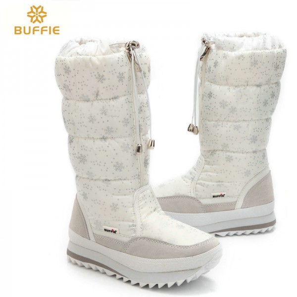 Buffie High Women Snow Boots plush Warm Lady shoe Plus size easy wear zipper up girl white colour flower warm boot Extra Image 3