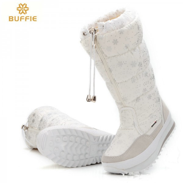 Buffie High Women Snow Boots plush Warm Lady shoe Plus size easy wear zipper up girl white colour flower warm boot Extra Image 4