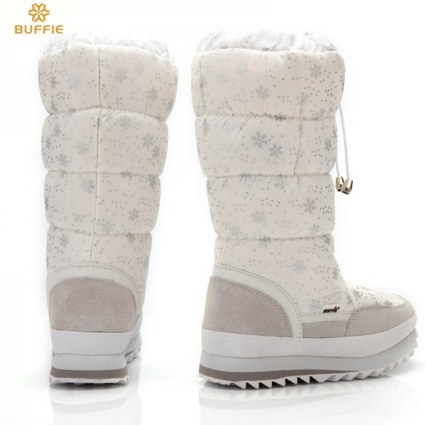 Buffie High Women Snow Boots plush Warm Lady shoe Plus size easy wear zipper up girl white colour flower warm boot Extra Image 5