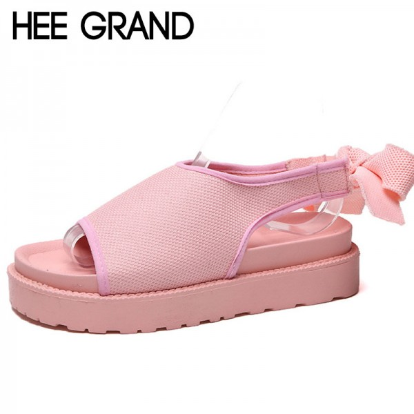 Butterfly Knot Gladiator Sandals 2018 Summer Platform Casual Shoes Woman Slip On Ankle Strap Rubber Flats Extra Image 1