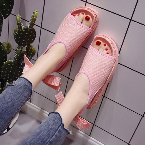 Butterfly Knot Gladiator Sandals 2018 Summer Platform Casual Shoes Woman Slip On Ankle Strap Rubber Flats Extra Image 3