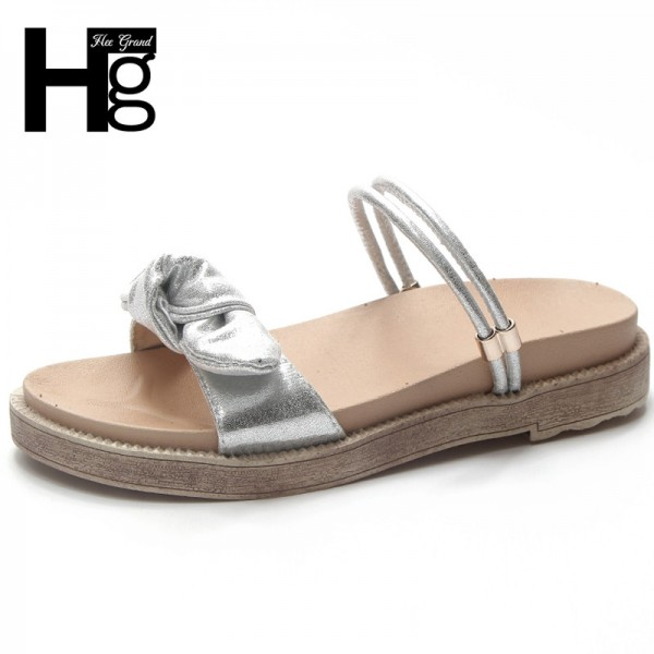 Butterfly Knot Slippers Summer Slides Silver Platform Shoes Woman Slip On Beach Creepers Women Flat with Shoes Extra Image 1