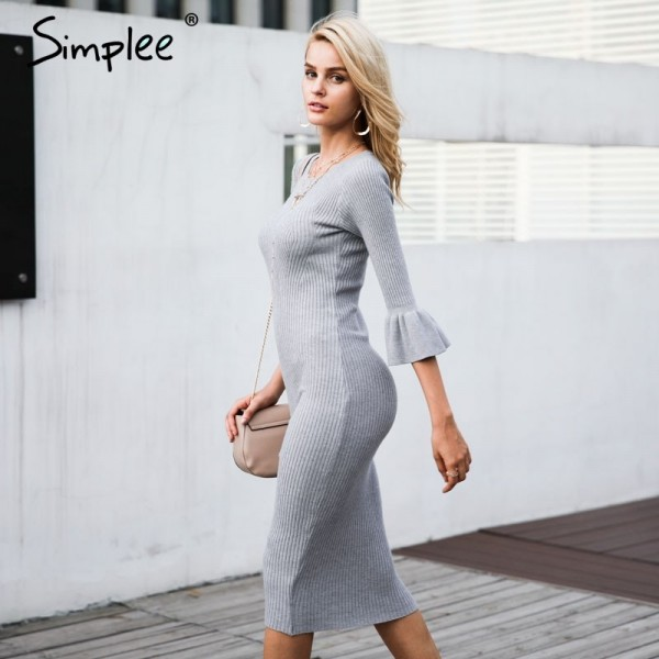 Butterfly sleeve knitting sweater dress women Sexy autumn winter dress Bodycon elastic soft dress vestidos de fiesta Extra Image 3