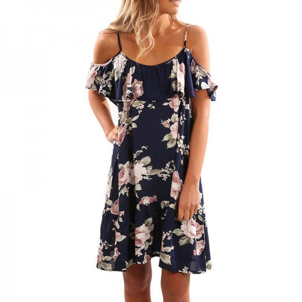 Butterfly Sleeve Loose Ruffles Dress Women Print Floral Summer Beach Casual Dress Sexy Strap Backless Knee Length Dress Extra Image 1