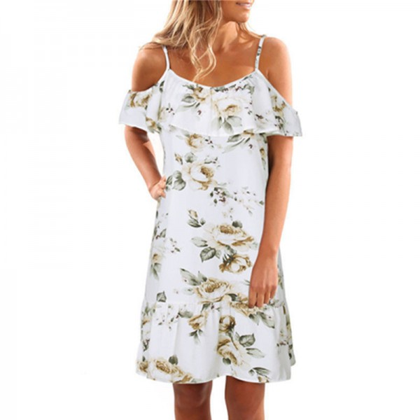 Butterfly Sleeve Loose Ruffles Dress Women Print Floral Summer Beach Casual Dress Sexy Strap Backless Knee Length Dress Extra Image 3