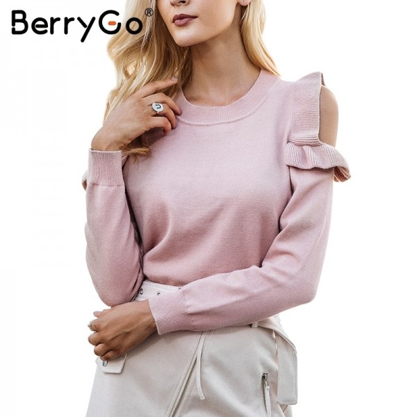 Casual cold shoulder knitted sweater women Elegant  sweater stringy pullover female Autumn winter Tops Extra Image 1