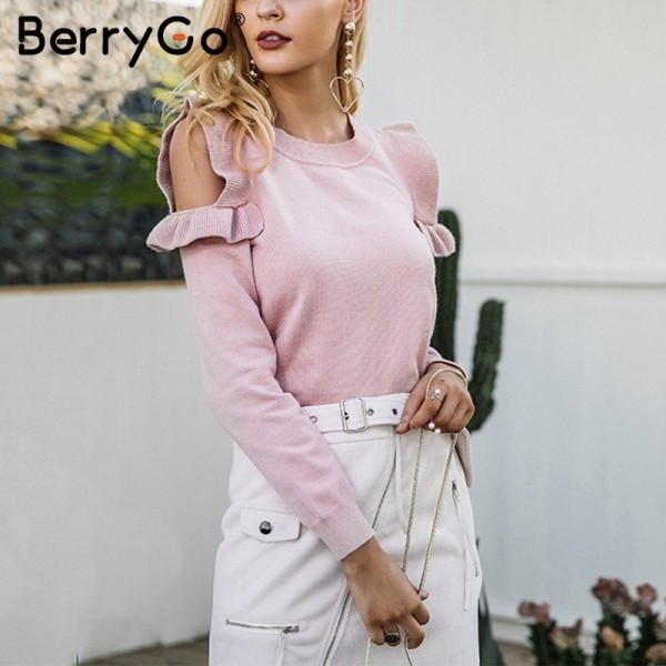 Casual cold shoulder knitted sweater women Elegant  sweater stringy pullover female Autumn winter Tops