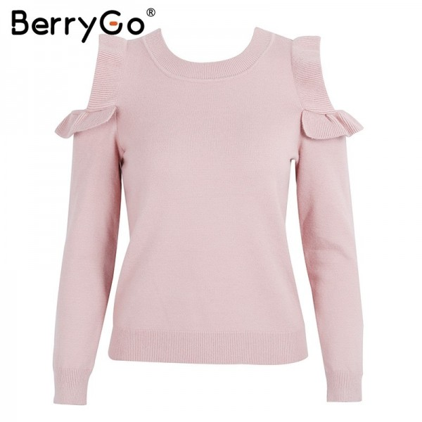 Casual cold shoulder knitted sweater women Elegant  sweater stringy pullover female Autumn winter Tops Extra Image 4