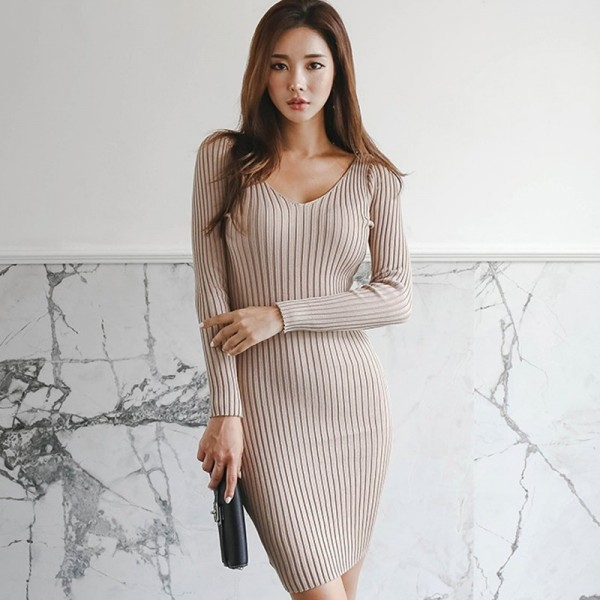 Casual Knitted Sweater Dress V Neck Full Sleeve Women Skinny Vestidos Female Bodycon Knitting Dress Extra Image 2
