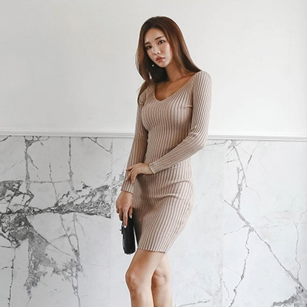 Casual Knitted Sweater Dress V Neck Full Sleeve Women Skinny Vestidos Female Bodycon Knitting Dress Extra Image 3