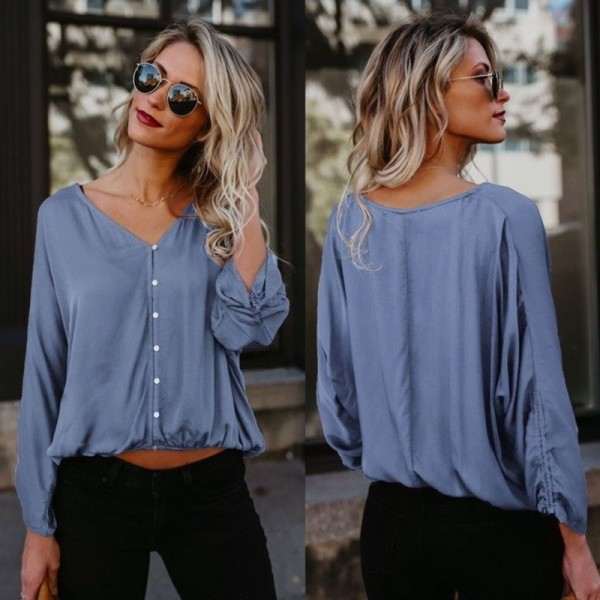 1fcb7c25e49 Casual Long Sleeve Blouse Women V Neck Button Loose Comfort Ladies Office  Shirts Moda Feminina Cheap Clothes Tops