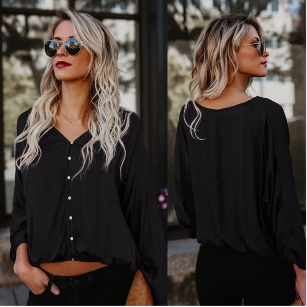 Casual Long Sleeve Blouse Women V Neck Button Loose Comfort Ladies Office Shirts Moda Feminina Cheap Clothes Tops Extra Image 3