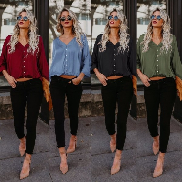 58118b79f06 ... Casual Long Sleeve Blouse Women V Neck Button Loose Comfort Ladies  Office Shirts Moda Feminina Cheap ...