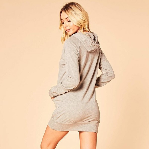 Casual Long Sleeve Hoodies Sweatshirt Dress Women With Pocket Solid Color Bodycon Hooded Pullover Slim Mini Dress Extra Image 1
