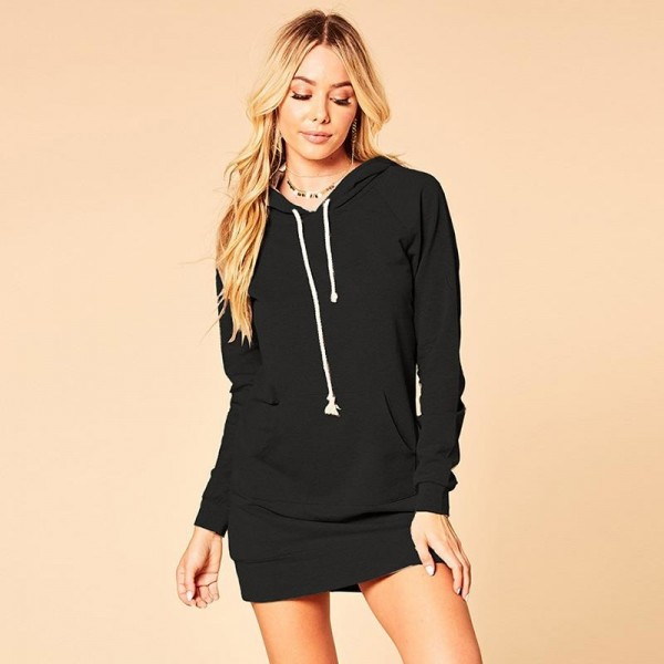 Casual Long Sleeve Hoodies Sweatshirt Dress Women With Pocket Solid Color Bodycon Hooded Pullover Slim Mini Dress Extra Image 4
