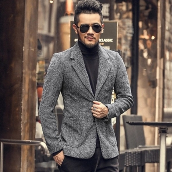 Casual Men Blazer business Slim fit Costume Homme Suit Blazer Masculino Male Woolen Suits Jacket blazer hombres Extra Image 4