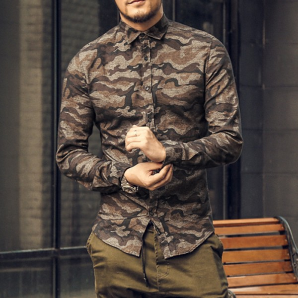 Casual men shirt Camouflage Autumn Men Long Sleeve cotton dress Shirt military homme luxury camisa social masculina Extra Image 1