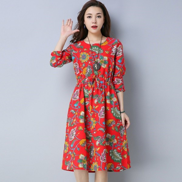 Casual O Neck A Line Knee Length Dress For Women Chinese Style Pockets Autumn Loose Fit Comfortable Dress Extra Image 4