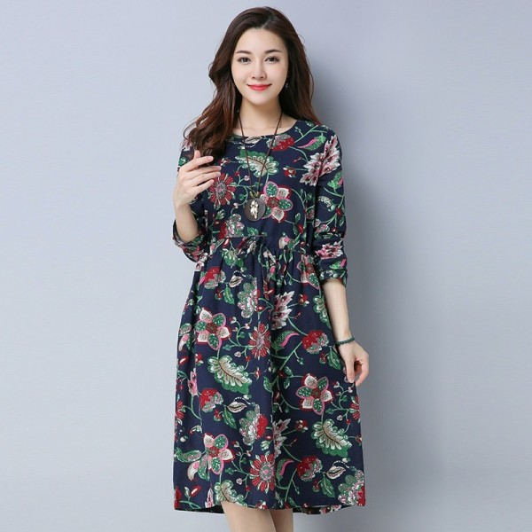 Casual O Neck A Line Knee Length Dress For Women Chinese Style Pockets Autumn Loose Fit Comfortable Dress Extra Image 6
