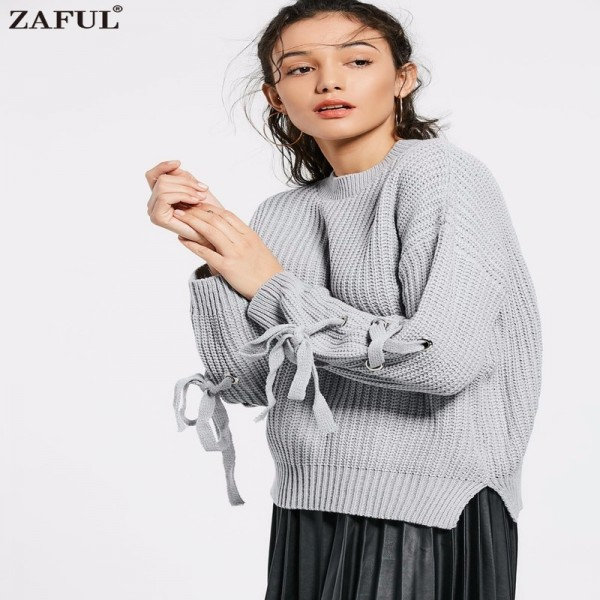 Casual o neck knitted sweater women jumper Lace up sleeve knitting pull femme autumn winter sweater pullover female Extra Image 1