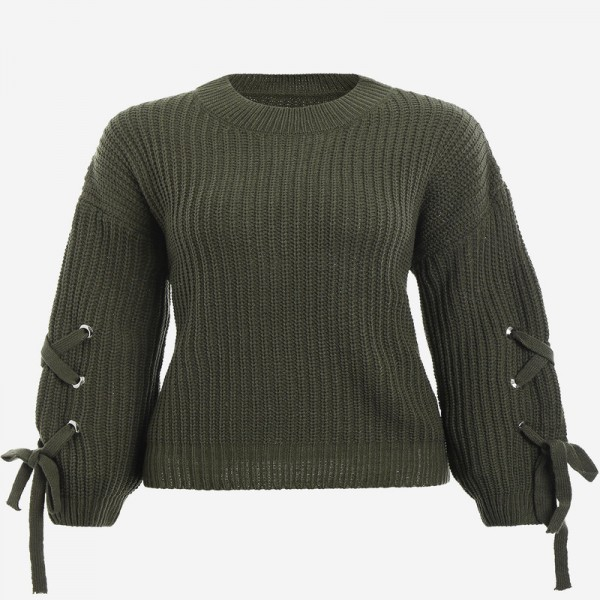 Casual o neck knitted sweater women jumper Lace up sleeve knitting pull femme autumn winter sweater pullover female Extra Image 4