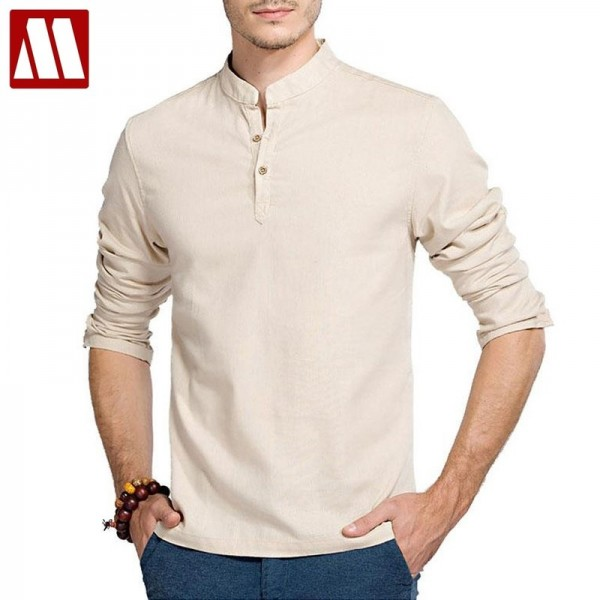 Casual Retro Shirts Men Cotton Linen Loose Fit Man Shirts Long Sleeve Pullover Shirts For Men Clothes Summer Wear Extra Image 1