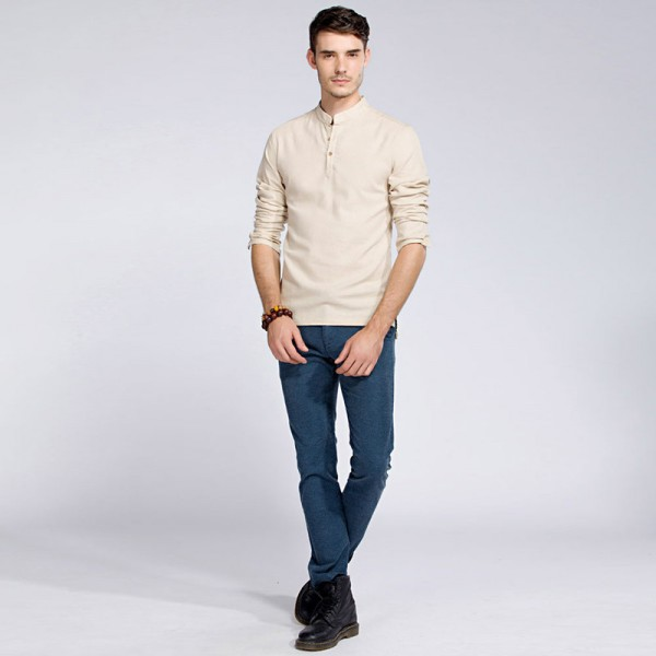 Casual Retro Shirts Men Cotton Linen Loose Fit Man Shirts Long Sleeve Pullover Shirts For Men Clothes Summer Wear Extra Image 3