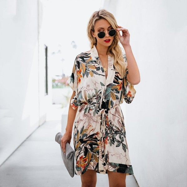 Casual Women Dress Floral Print Summer Beach Party Short Dresses Short Sleeve V Neck Shirt Mini Boho Dress