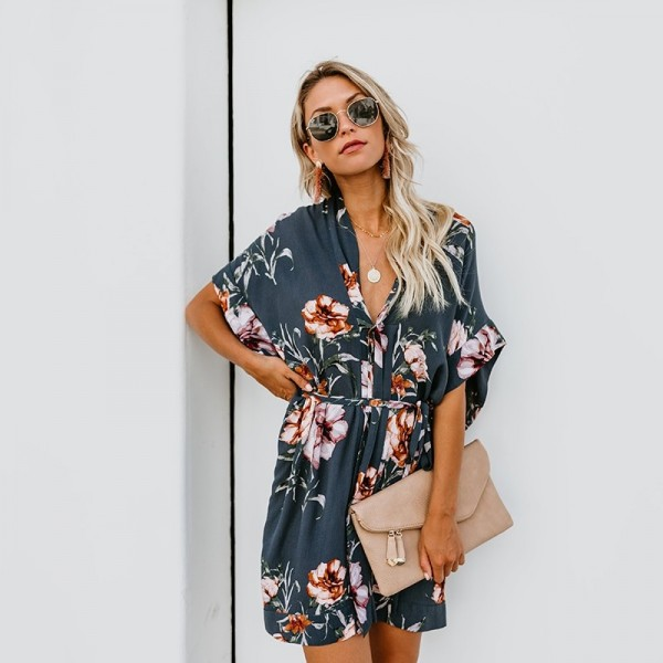 Casual Women Dress Floral Print Summer Beach Party Short Dresses Short Sleeve V Neck Shirt Mini Boho Dress Extra Image 3