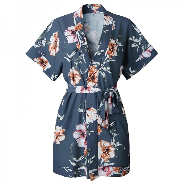 Casual Women Dress Floral Print Summer Beach Party Short Dresses Short Sleeve V Neck Shirt Mini Boho Dress Extra Image 5
