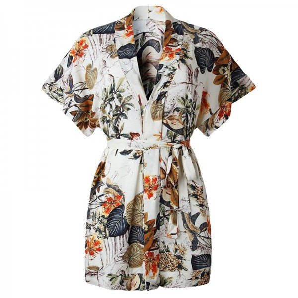 Casual Women Dress Floral Print Summer Beach Party Short Dresses Short Sleeve V Neck Shirt Mini Boho Dress Extra Image 6