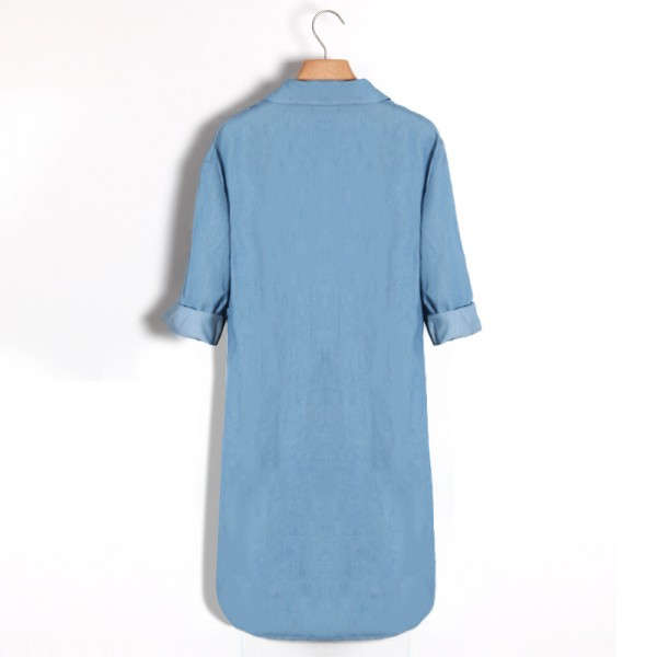 29fb6715561 ... Causal Women Denim Shirt Dress Summer Irregular shirt dress Long Sleeve  Sexy Mini Dress Casual Loose ...