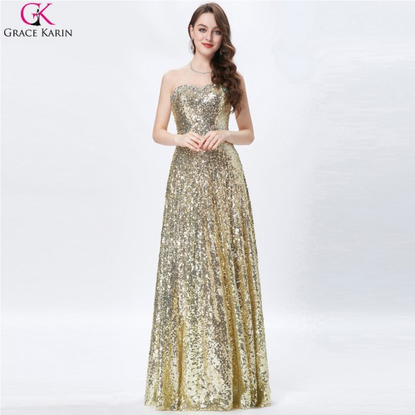 Celebrity Dress Red Carpet Dress Strapless Glitter Elegant Long Formal Gowns Gold Sequin Evening Party Prom Dresses