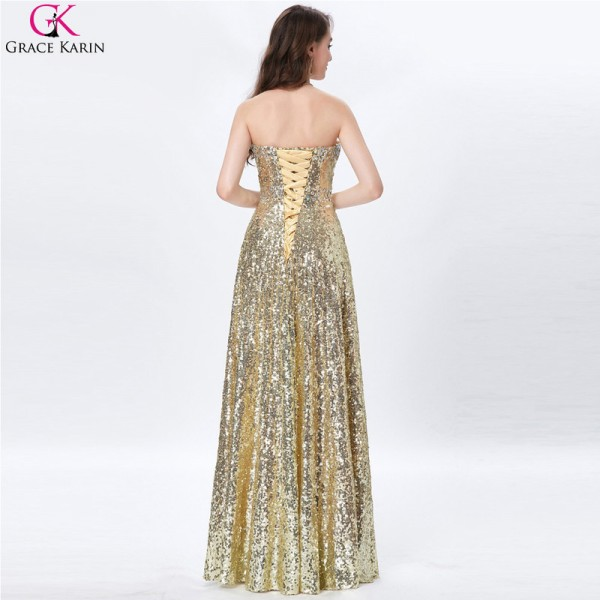 Celebrity Dress Red Carpet Dress Strapless Glitter Elegant Long Formal Gowns Gold Sequin Evening Party Prom Dresses Extra Image 2