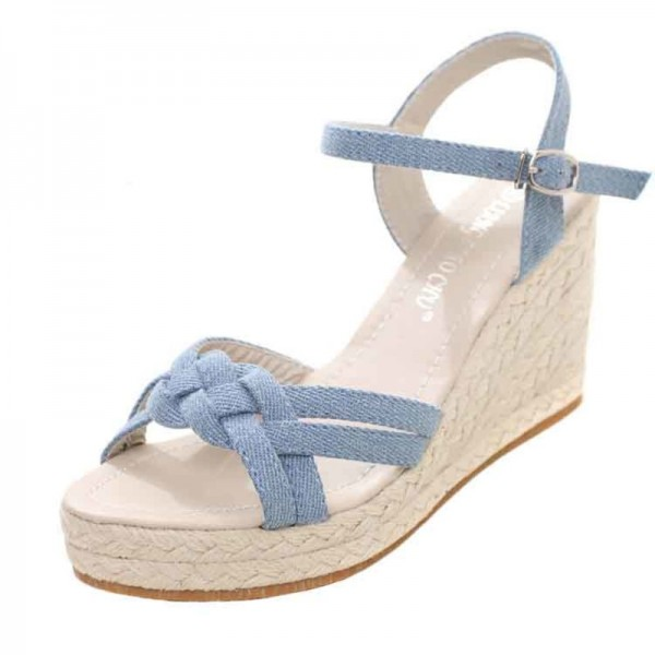 Charming Bohemian Roman Slope Plus Size Sky Blue Sexy High Waterproof Sandals 2018 New Women Wedge Pumps