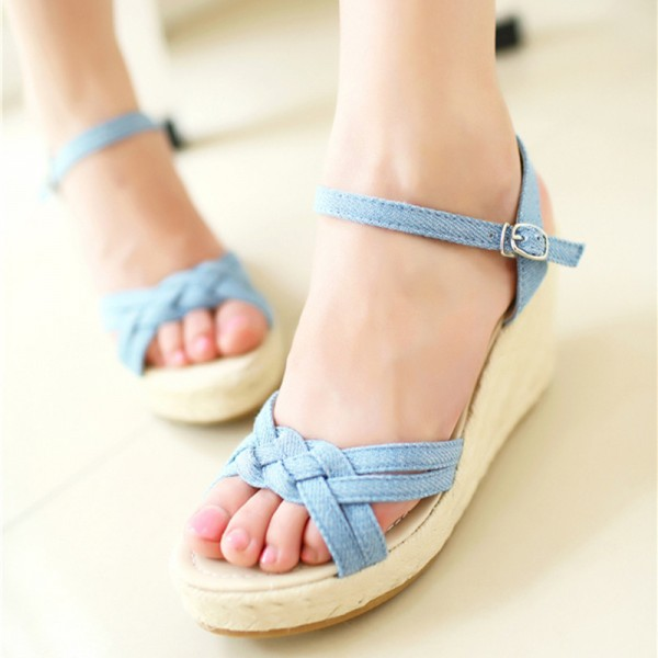 Charming Bohemian Roman Slope Plus Size Sky Blue Sexy High Waterproof Sandals 2018 New Women Wedge Pumps Extra Image 1