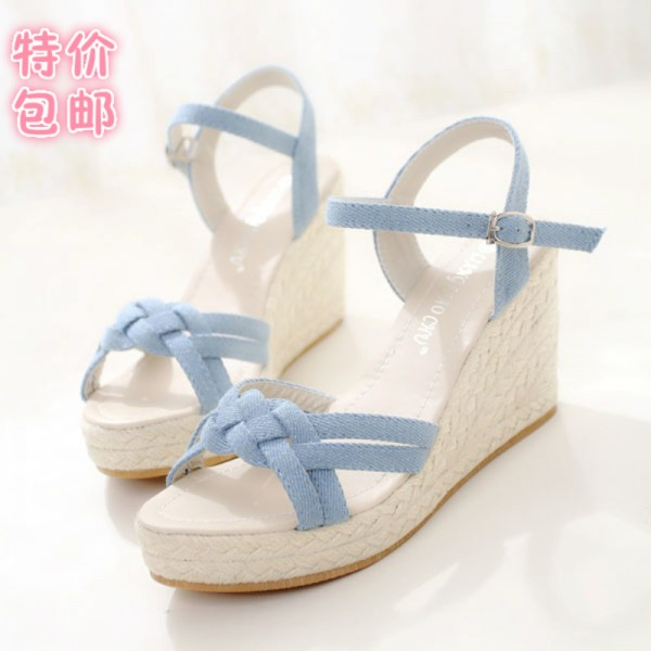 Charming Bohemian Roman Slope Plus Size Sky Blue Sexy High Waterproof Sandals 2018 New Women Wedge Pumps Extra Image 3