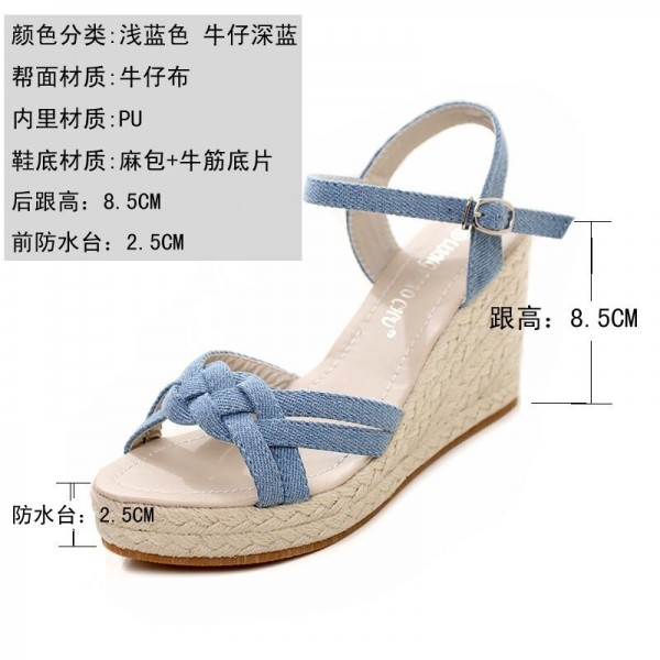Charming Bohemian Roman Slope Plus Size Sky Blue Sexy High Waterproof Sandals 2018 New Women Wedge Pumps Extra Image 4