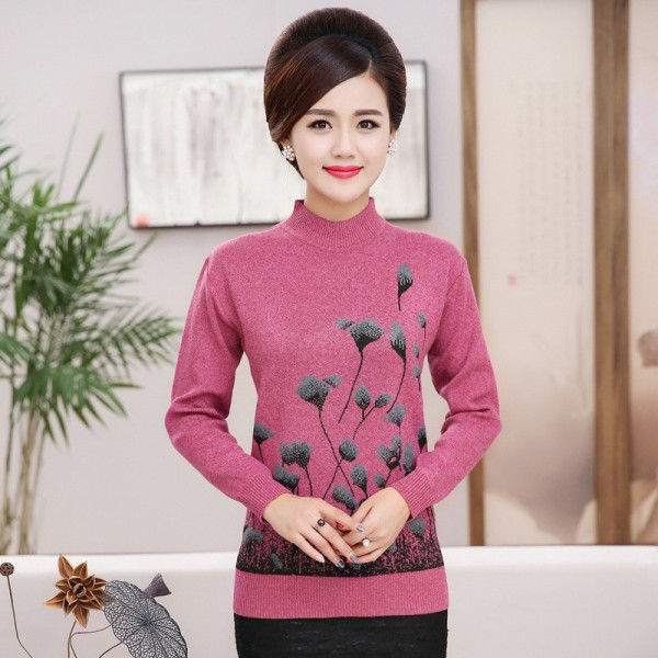 Christmas Sweater Jumper Women Knitwear Casual Slim Pullover Turtleneck Print Plus Size Mother Long Sleeve Knitted Tops Extra Image 1