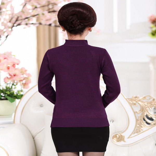 Christmas Sweater Jumper Women Knitwear Casual Slim Pullover Turtleneck Print Plus Size Mother Long Sleeve Knitted Tops Extra Image 3