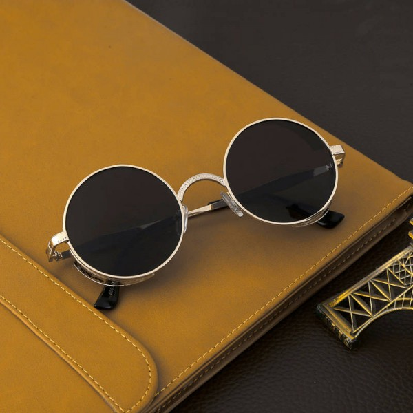 Circle Steampunk Sunglasses Simple Casual Round One Piece Unisex Classic Vintage Elegant Eye Shades Extra Image 0