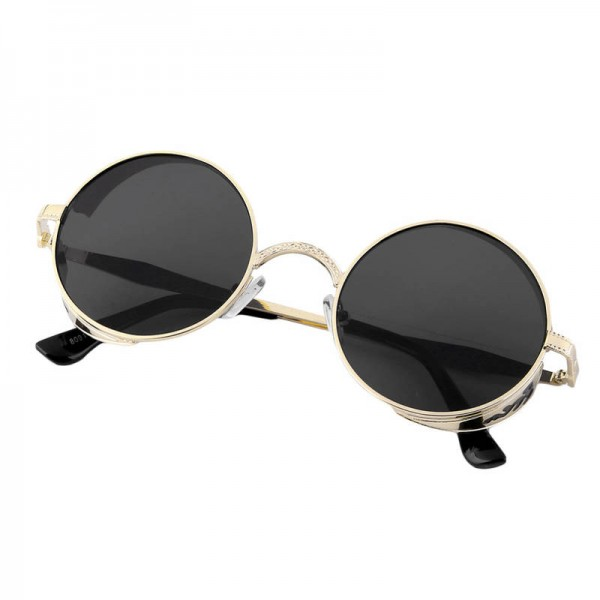 Circle Steampunk Sunglasses Simple Casual Round One Piece Unisex Classic Vintage Elegant Eye Shades Extra Image 2