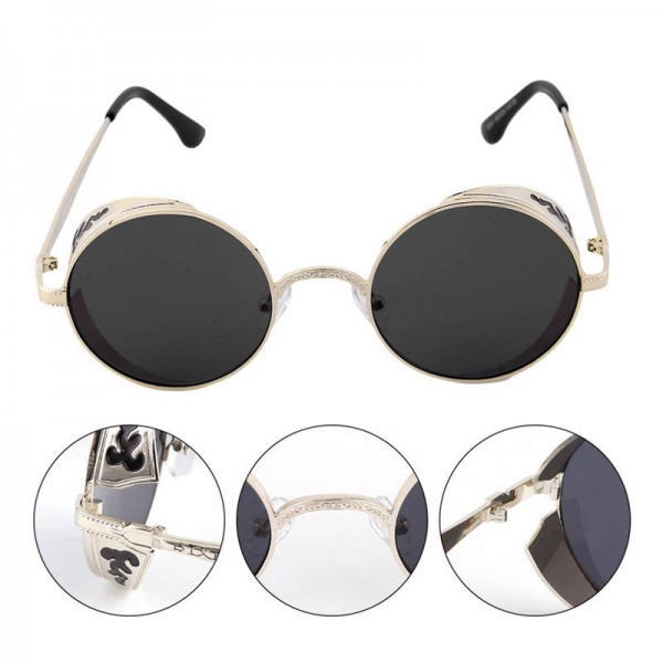Circle Steampunk Sunglasses Simple Casual Round One Piece Unisex Classic Vintage Elegant Eye Shades Extra Image 5