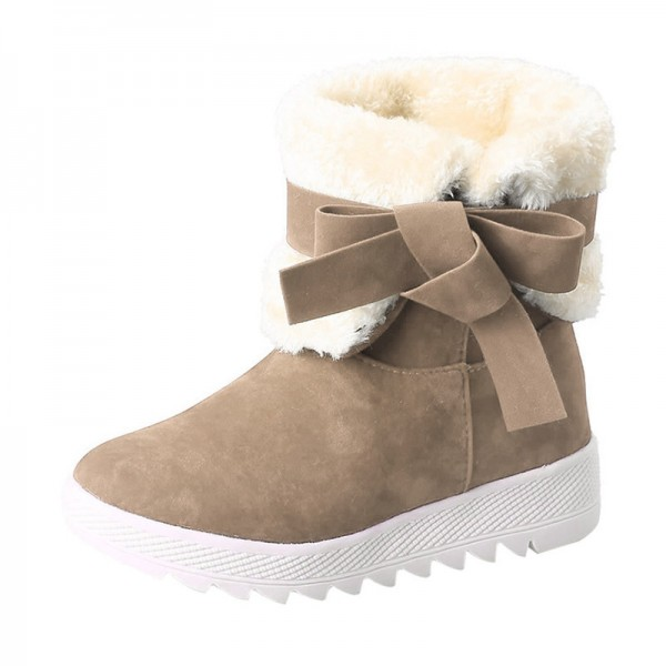 Classic Women Winter Boots Suede Ankle Snow Boots Female Warm Bow Knot High Quality Warm Ankle Boots Botas Mujer Extra Image 1