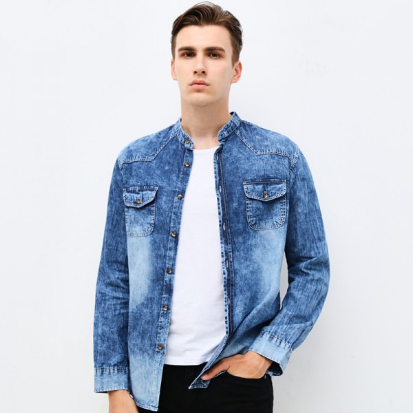 Buy clothing mens denim shirt long sleeve mandarin collar for Mens dress shirt sleeve length