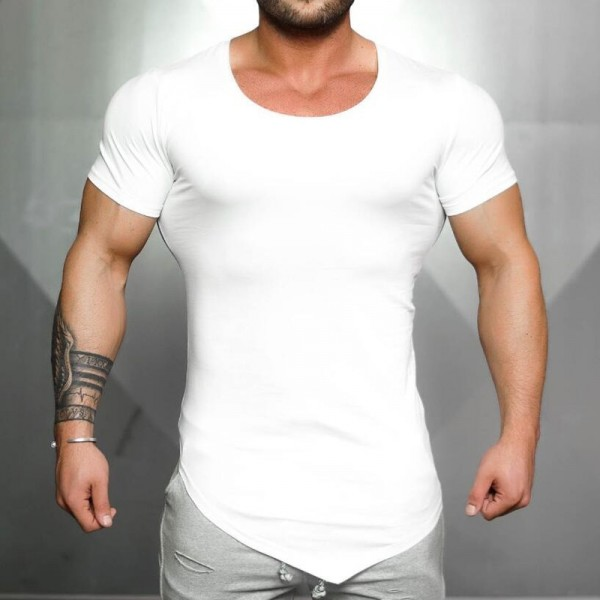 Clothing Tight Short Sleeve t shirt mens fitness t shirt Solid Color Gyms shirt men crossfit Summer top blank tshirt